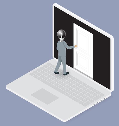 אדם נכנס לתוך מחשב